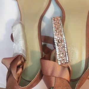 Charlotte Russe Shoes - Charlotte Russe Faux Suede Bling Ankle Wrap Sandal